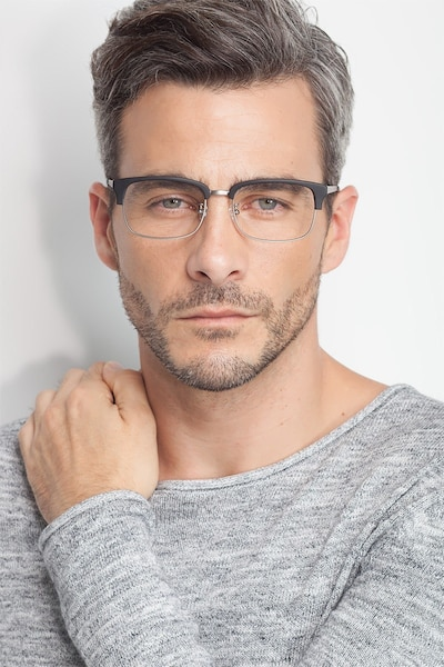 Wizard Black Acetate Eyeglass Frames for Men from EyeBuyDirect, Front View