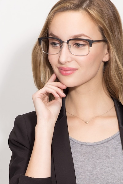 Wizard Black Metal Eyeglass Frames for Women from EyeBuyDirect, Front View