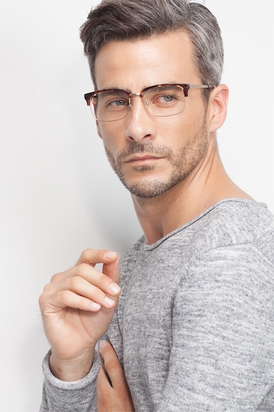 Wizard Tortoise Acetate Eyeglass Frames for Men from EyeBuyDirect, Front View