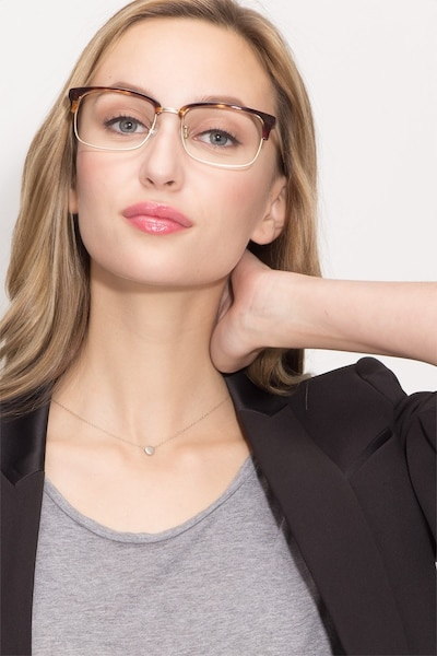 Wizard Tortoise Metal Eyeglass Frames for Women from EyeBuyDirect, Front View