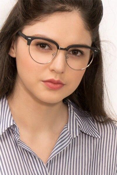 Narita Matte Black Metal Eyeglass Frames for Women from EyeBuyDirect, Front View