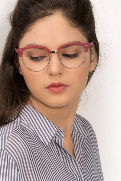 Narita Red Metal Eyeglass Frames for Women from EyeBuyDirect, Front View