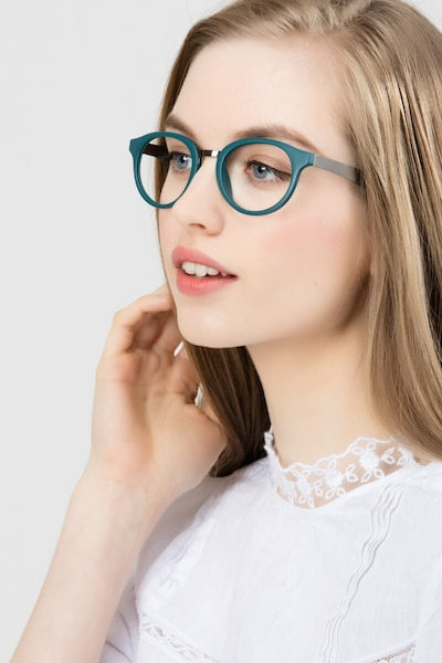 Aisu Matte Green Metal Eyeglass Frames for Women from EyeBuyDirect, Front View