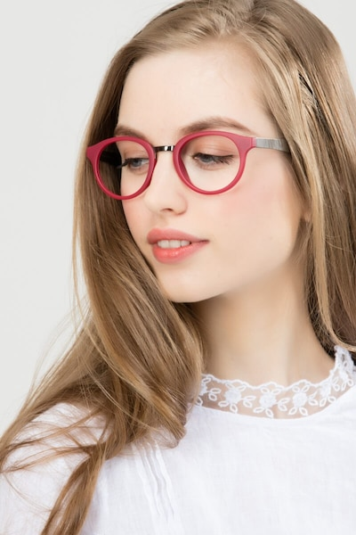 Aisu Matte Burgundy Metal Eyeglass Frames for Women from EyeBuyDirect, Front View