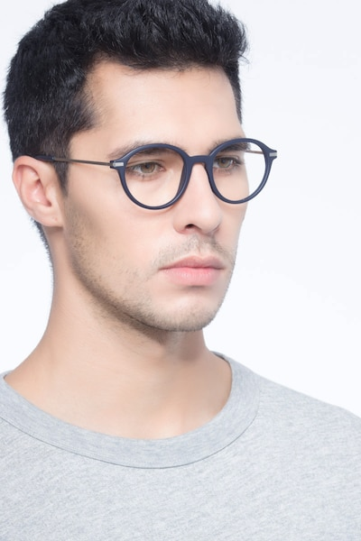 Juno Matte Navy Metal Eyeglass Frames for Men from EyeBuyDirect, Front View