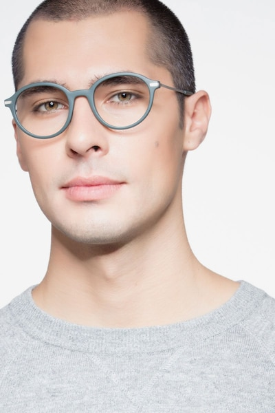 Juno Matte Green Metal Eyeglass Frames for Men from EyeBuyDirect, Front View