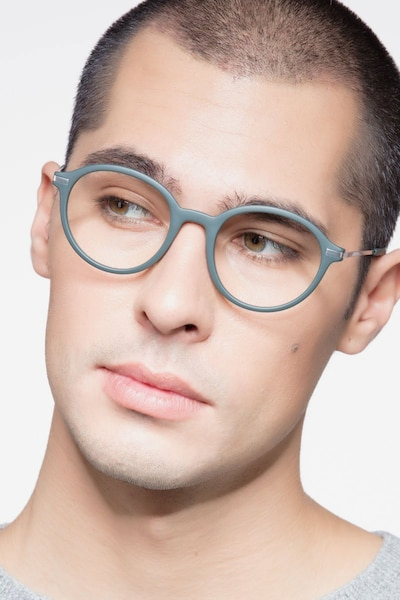 Juno Matte Green Metal Eyeglass Frames for Men from EyeBuyDirect