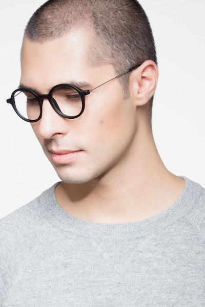 Potter Matte Black Metal Eyeglass Frames for Men from EyeBuyDirect, Front View