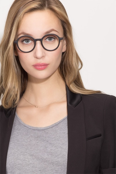 Potter Matte Black Metal Eyeglass Frames for Women from EyeBuyDirect, Front View