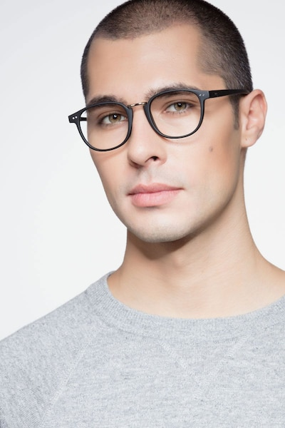 Miyoshi Matte Black Metal Eyeglass Frames for Men from EyeBuyDirect, Front View