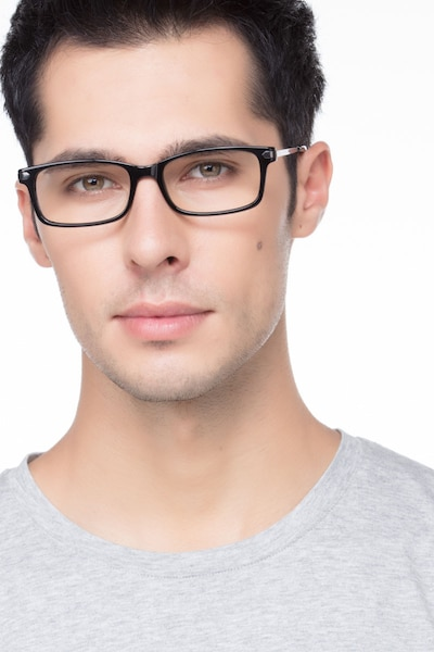 Requiem Black Acetate Eyeglass Frames for Men from EyeBuyDirect, Front View