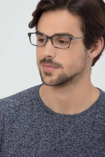 Requiem Gray Striped Metal Eyeglass Frames for Men from EyeBuyDirect, Front View