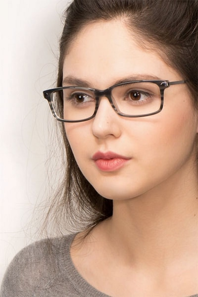 Requiem Gray Striped Metal Eyeglass Frames for Women from EyeBuyDirect, Front View