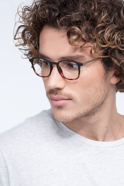Civilization Black Brown Metal Eyeglass Frames for Men from EyeBuyDirect, Front View