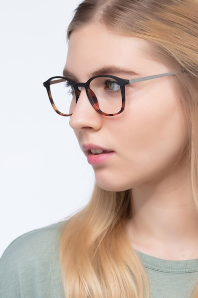 Civilization Black Brown Metal Eyeglass Frames for Women from EyeBuyDirect, Front View