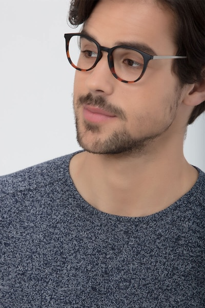 Gracious Black Tortoise Metal Eyeglass Frames for Men from EyeBuyDirect, Front View