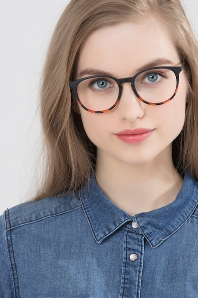 Gracious Black Tortoise Metal Eyeglass Frames for Women from EyeBuyDirect, Front View