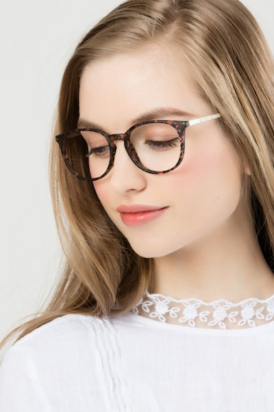 Gracious Pink Floral Metal Eyeglass Frames for Women from EyeBuyDirect, Front View