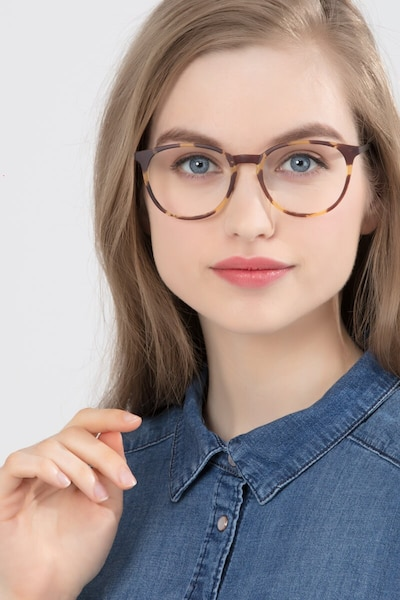 Gracious Light Tortoise Metal Eyeglass Frames for Women from EyeBuyDirect