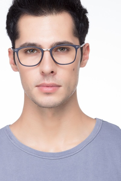 Savannah Matte Navy Metal Eyeglass Frames for Men from EyeBuyDirect, Front View