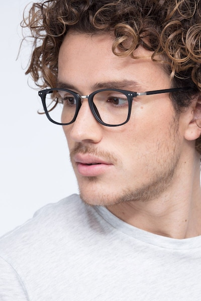 Savannah Matte Black Metal Eyeglass Frames for Men from EyeBuyDirect, Front View