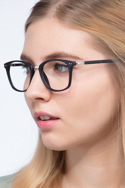Savannah Matte Black Metal Eyeglass Frames for Women from EyeBuyDirect