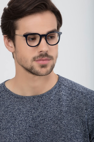 Chance Navy Metal Eyeglass Frames for Men from EyeBuyDirect, Front View