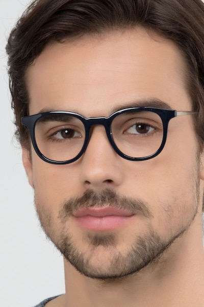 Chance Navy Metal Eyeglass Frames for Men from EyeBuyDirect