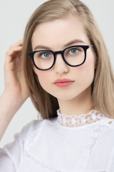 Chance Navy Plastic Eyeglass Frames for Women from EyeBuyDirect, Front View