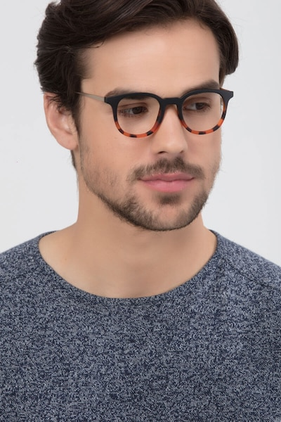 Chance Striped Black Metal Eyeglass Frames for Men from EyeBuyDirect, Front View