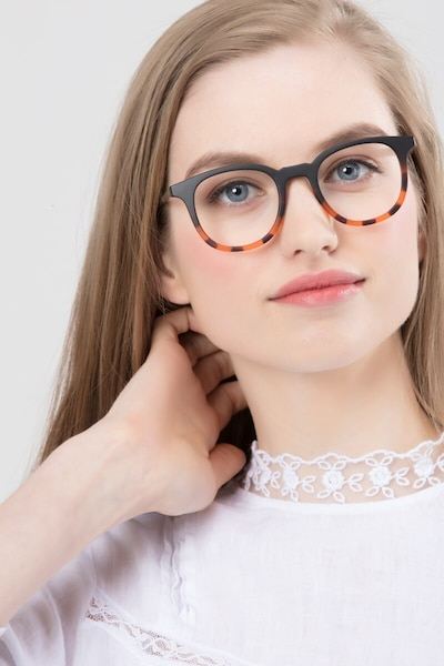 Chance Striped Black Metal Eyeglass Frames for Women from EyeBuyDirect