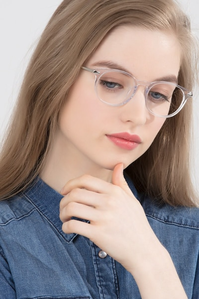 Mood Translucent Metal Eyeglass Frames for Women from EyeBuyDirect, Front View