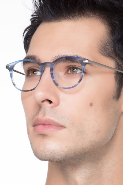 Mood Blue Striped Acetate Eyeglass Frames for Men from EyeBuyDirect