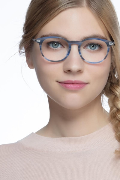Mood Blue Striped Acetate Eyeglass Frames for Women from EyeBuyDirect, Front View
