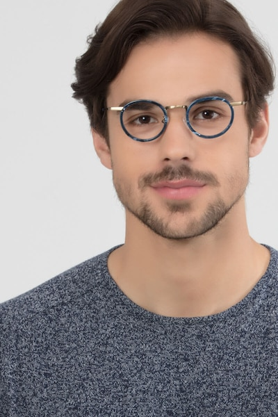 Maybe You Blue Acetate Eyeglass Frames for Men from EyeBuyDirect, Front View