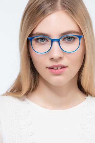 Tangent Blue Metal Eyeglass Frames for Women from EyeBuyDirect, Front View