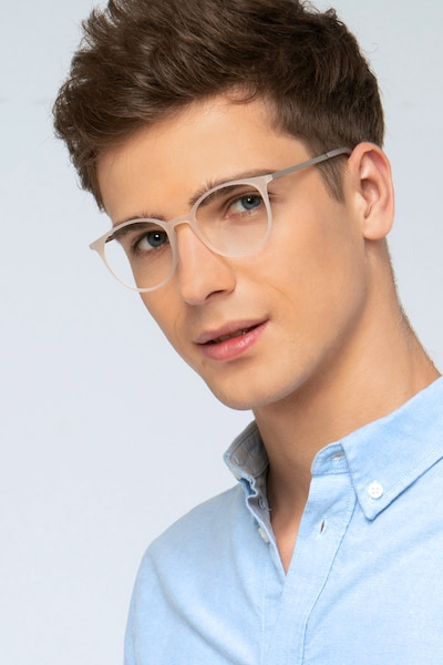 Tangent Clear Metal Eyeglass Frames for Men from EyeBuyDirect, Front View
