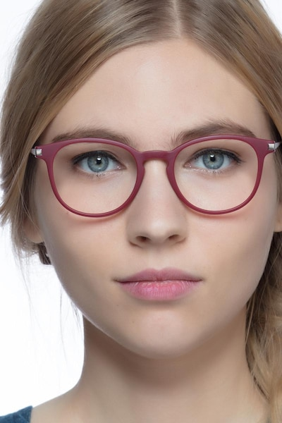 Mirando Raspberry Metal Eyeglass Frames for Women from EyeBuyDirect
