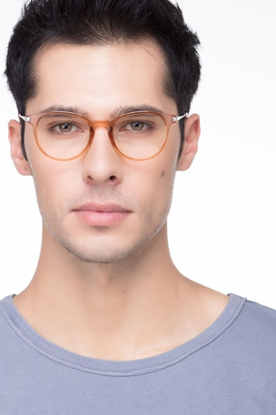 0187ab6c090 Mirando Light Brown Metal Eyeglass Frames for Men from EyeBuyDirect