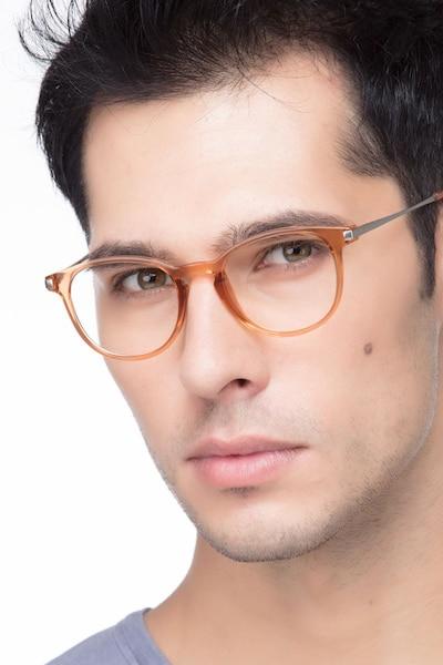 Mirando Light Brown Metal Eyeglass Frames for Men from EyeBuyDirect