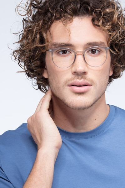 Marilou Clear Gray Plastic-metal Eyeglass Frames for Men from EyeBuyDirect, Front View