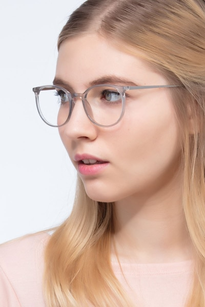 Marilou Clear Gray Metal Eyeglass Frames for Women from EyeBuyDirect, Front View