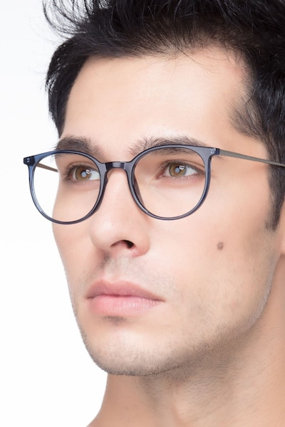 Marilou Clear Cobalt Metal Eyeglass Frames for Men from EyeBuyDirect