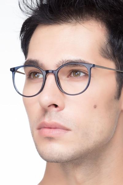 Marilou Clear Cobalt Métal Montures de Lunettes pour Hommes d'EyeBuyDirect