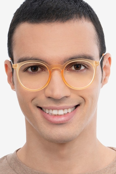 Grin Matte Yellow Metal Eyeglass Frames for Men from EyeBuyDirect