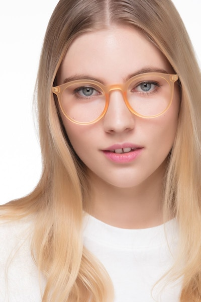 Grin Matte Yellow Metal Eyeglass Frames for Women from EyeBuyDirect, Front View