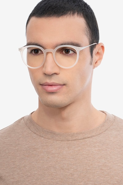 Grin Matte Clear Metal Eyeglass Frames for Men from EyeBuyDirect, Front View