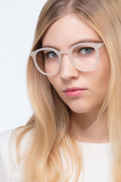 Grin Matte Clear Metal Eyeglass Frames for Women from EyeBuyDirect, Front View