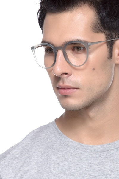 Grin Matte Gray Metal Eyeglass Frames for Men from EyeBuyDirect, Front View