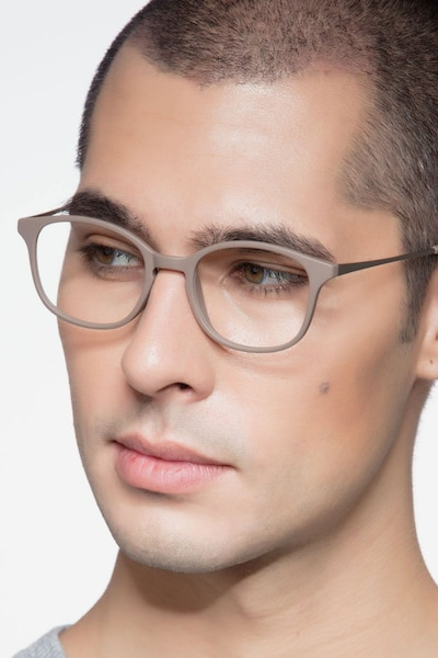 Villa Taupe Metal Eyeglass Frames for Men from EyeBuyDirect